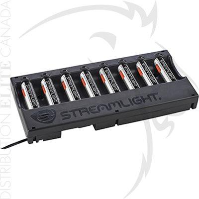 STREAMLIGHT 8-UNIT 18650 CHARGER W / BATTERIES - 120V / 100V AC