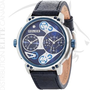 FIORI POLICE WATCH - STEAMPUNK BLUE LEATHER W / BLUE DIAL