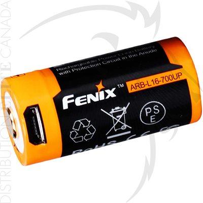 FENIX ARB-L16 700mAh 2.5A USB RECHARGE LI-ION 16340 BATTERY